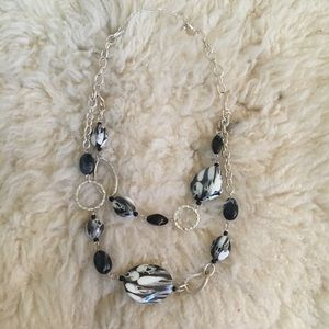 Silver Black And White Marble necklace